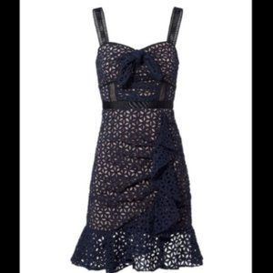 NWT Self Portrait navy lace eyelet cocktail dress